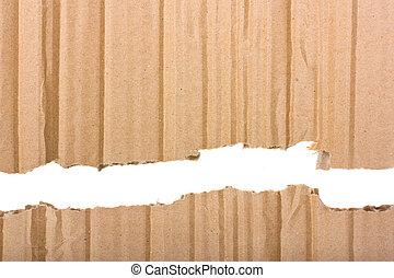 marrón, rasgado, separado, dos, parte, cartón