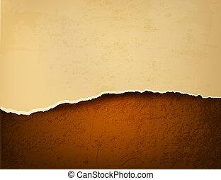 marrón, rasgado, viejo, leather., ilustración, papel, vector, retro, plano de fondo