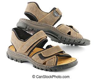 marrón, shoes, hombre, cierre, velcro, sandalias