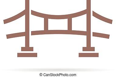 marrón, simple, puente, logotipo