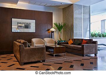 marrón, sofás, el, vestíbulo