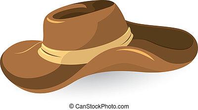 marrón, sombrero, vaquero