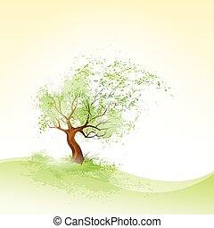 marrón, soplar, hojas, árbol, vector, verde, corteza, viento