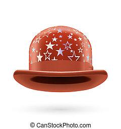 marrón, starred, jugador de bolos sombrero