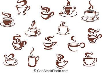 marrón, tazas de café, caliente, variado