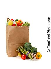 marrón, tienda de comestibles, lleno, vegetales, saco, blanco