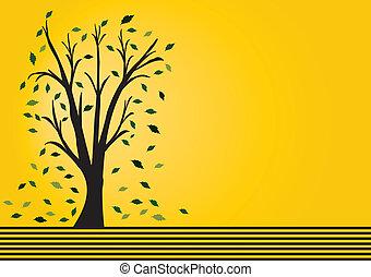marrón, tiras, árbol