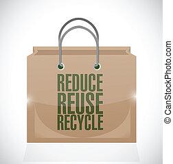 marrón, uso repetido, reducir, bolsa, papel, reciclar