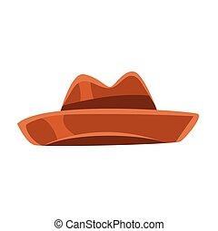 marrón, vendimia, sombrero de sombrero de fieltro, vector, ilustración