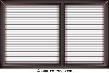 marrón, ventana, persianas, abierto