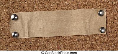 marrón, viejo, corcho, note papel, tabla, plano de fondo