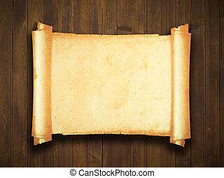 marrón, viejo, manuscrito, textura, papel, patrones, madera,...