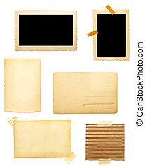 marrón, viejo, nota papel, plano de fondo