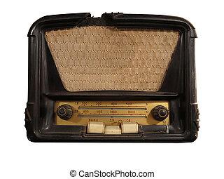 marrón, viejo, vendimia, aislado, radio, receptor
