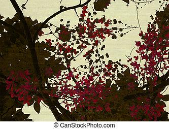 marrón, y, rojo, flor, impresión, en, crema, plano de fondo
