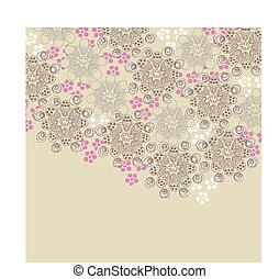 marrón, y, rosa, diseño floral