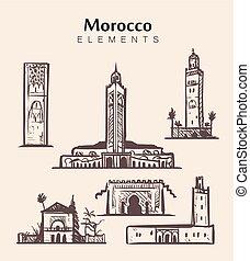 marrakech., モスク, hassan, hand-drawn, モロッコ, セット, ベクトル, スケッチ, illustration., 建物。, ii