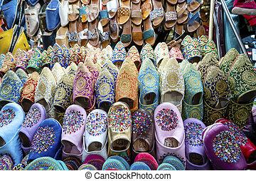 marrakech, 町, モロッコ, 売られた, スリッパ, 古い, カラフルである