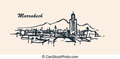 Marrakech skyline hand drawn sketch vector illustration.