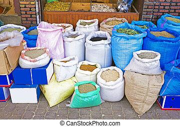 marrakesh, marokko, souk, gewürz, markt