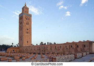 marrakesh, mezquita, minarete, koutoubia