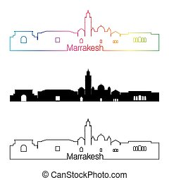 Marrakesh skyline linear style with rainbow.eps