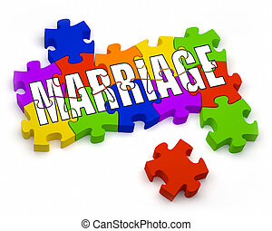 Marriage - 3D jigsaw pieces with text. Part of a series.