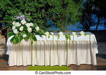 Marriage altar - A wedding altar with flowers and plants