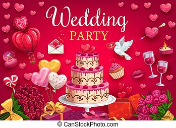 Marriage and wedding party, symbols of love, doves