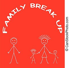 Representation of marriage break up or divorce isolated on red background