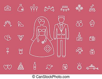 Marriage bridal icons in modern line style - Marriage,...