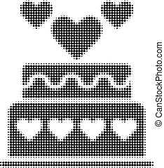 Marriage Cake Halftone Dotted Icon