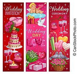 Marriage ceremony invitations, wedding day symbols