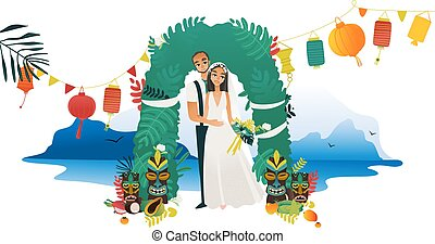 Marriage ceremony on Hawaii coast - young bride and groom getting married at beach.