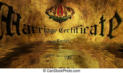 Marriage certificate reflected in water grunge concept