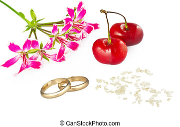 marriage concept card with gold rings