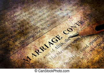 Marriage contract grunge concept