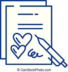 Marriage contract line icon concept. Marriage contract flat vector symbol, sign, outline illustration.