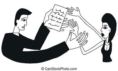 marriage contract - vector cartoon