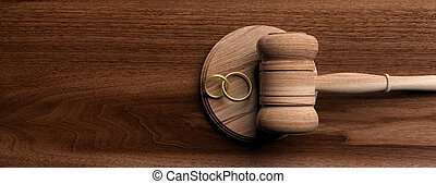 Wedding rings and judge gavel on wooden background, banner, copy space. 3d illustration