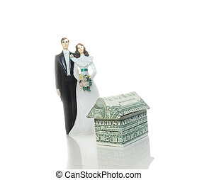 marriage house - bride and groom cake topper couple and mini...