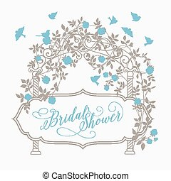 Marriage invitation card with floral garland and calligraphic text. Vector illustration.