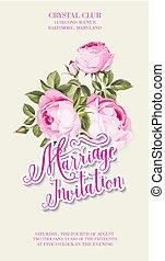 Marriage invitation on ivory background, vintage floral invitation for spring or summer wedding.