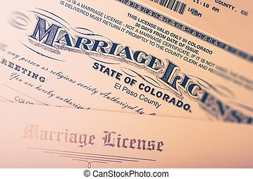 Marriage License Issued in Colorado State, United States....