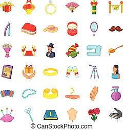 Marriage of convenience icons set, cartoon style - Marriage...