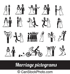 marriage pictograms over white background vector...