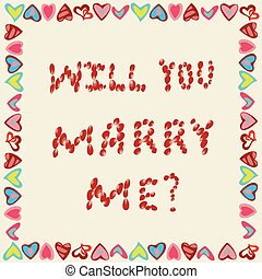 Marriage proposal from petals of roses on a yellow background, in the frame