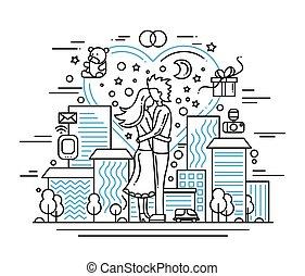 Marriage proposal - line design illustration