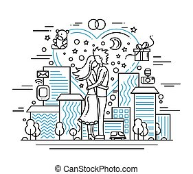 Marriage proposal - line design illustration