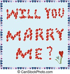 Marriage proposal of rose petals on a blue background